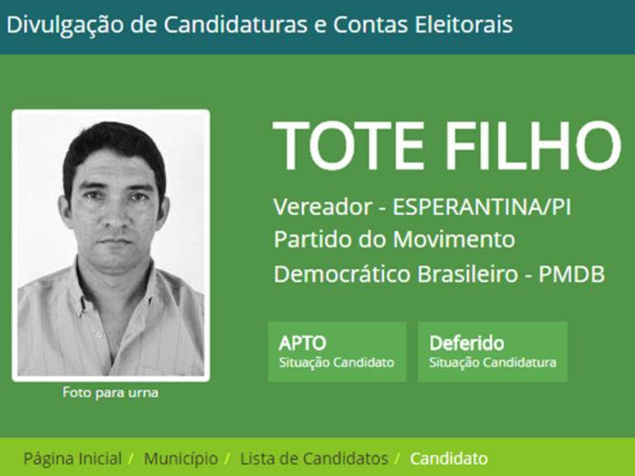 Tote filho foi eleito com 810 votos (Crédito: TSE)
