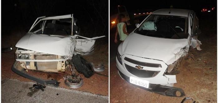 Carros envolvidos na colisão (Crédito: Floriano News)