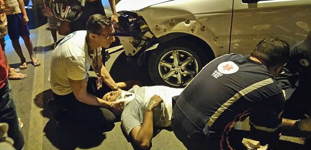 Motociclista foi socorrido por equipes do Samu (Crédito: Blog do Pessoa)