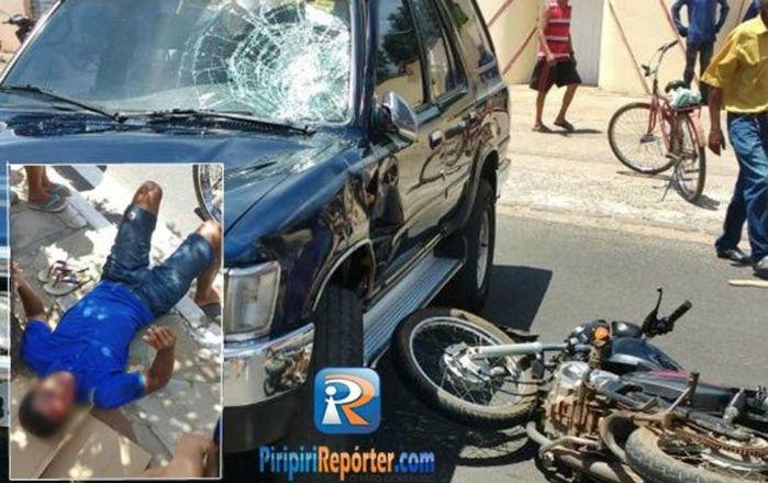 Motociclista fica ferido após colisão