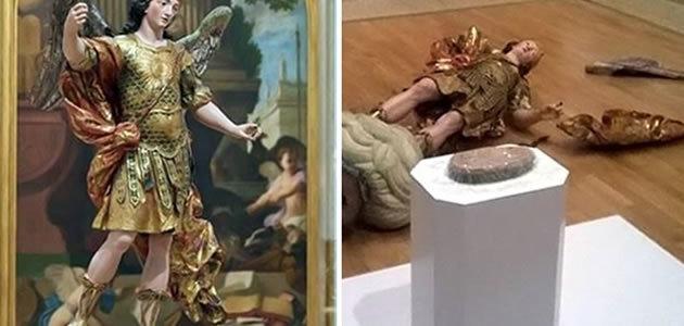 Brasileiro derruba estátua do século XVIII ao fazer selfie