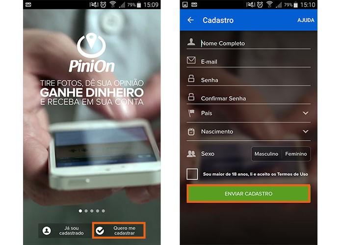 Faça o cadastro com suas informações pessoais no PiniOn (Crédito: Reprodução/Barbara Mannara)