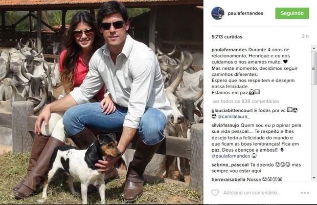 Paula Fernandes colocou ponto final no noivado (Crédito: Reprodução/ Instagram)
