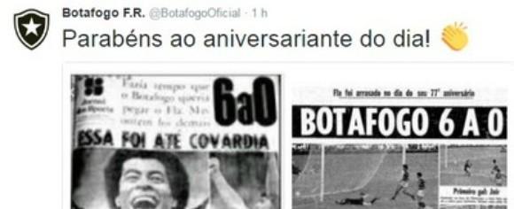"""Botafogo provoca Flamengo com """"homenagem"""" no dia do aniversário"""