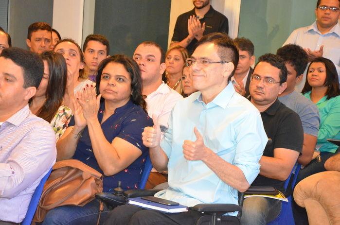 Amadeu Campos ao lado da também jornalista Maia Veloso (Crédito: Magal)