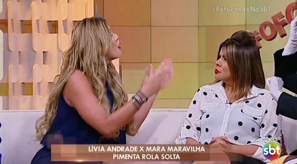 Livia Andrade  x Mara Maravilha (Crédito: Reprodução/ SBT)