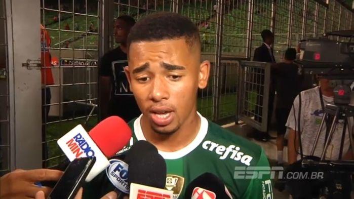 Gabriel Jesus após polêmica em jogo (Crédito: ESPN)