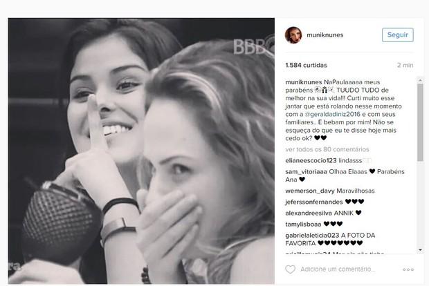 Munik deseja feliz aniversário para Ana Paula (Crédito: Reprodução/ Instagram)