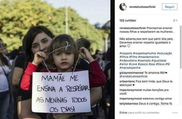 Renata publicou a imagem na sua rede social (Crédito: Instagram)
