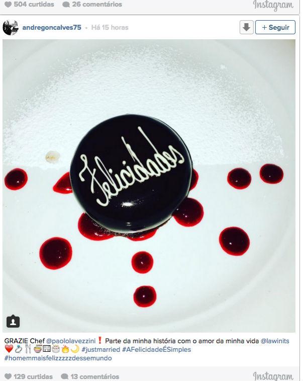 Post de André Gonçalves no Instagram nesta quinta-feira