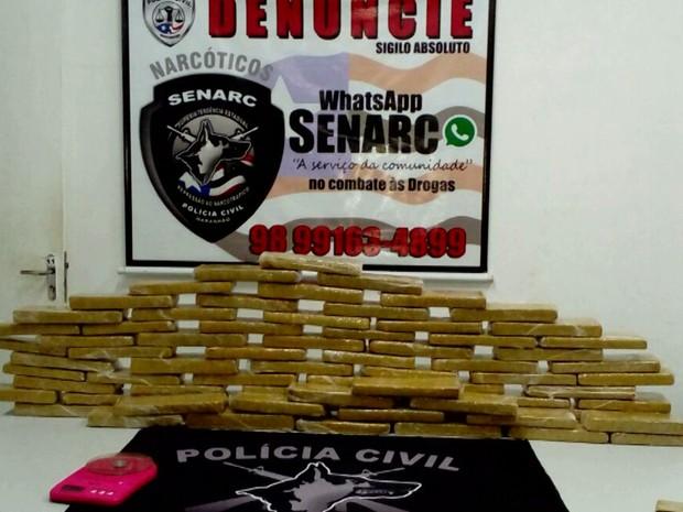 Cerca de 70 tabletes apreendidos em São Luís, no Maranhão (Crédito: Reprodução)