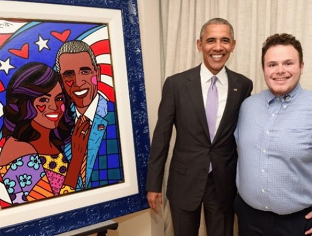 O presidente dos EUA, Barack Obama, e Brendan Britto, filho do pintor brasileiro Romero Britto (Crédito: Reprodução)