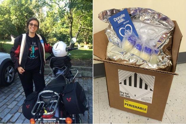 Mulheres motoqueiras entregam leite materno para bebês prematuros