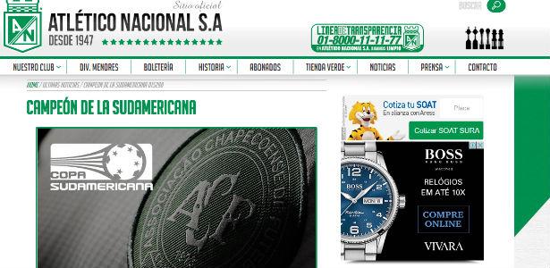 Site do Atletico Nacional (Crédito: Reprodução)