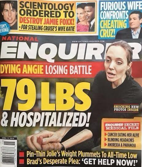 """Angelina Jolie irreconhecível na capa do tablóide """"The National Enquirer"""" (Crédito: Reprodução)"""