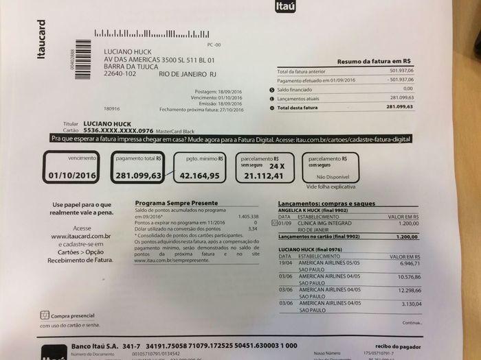 Suposta fatura do cartão de crédito de Luciano Huck cai na rede (Crédito: Reprodução)