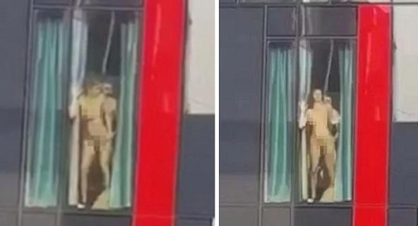 Casal faz sexo na janela de um hotel em Londres (Crédito: Reprodução)