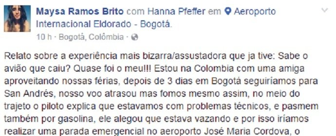 Brasileira relata pânico em avião que pousou antes da Chapecoense