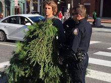 Homem é preso após atrapalhar trânsito vestido de árvore