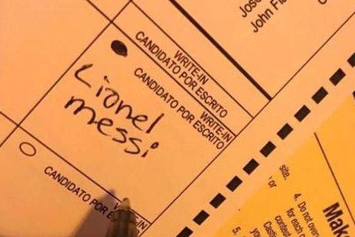 Cédula com voto para Messi