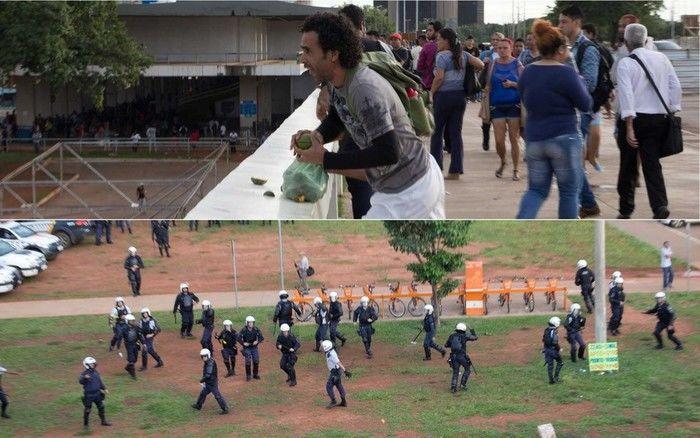 Manifestante joga pequi contra policiais militares