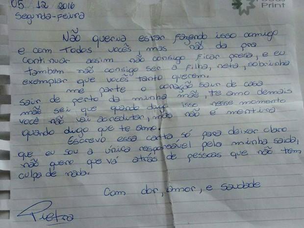 Carta deixada por Pietra Castro (Crédito: Reprodução)