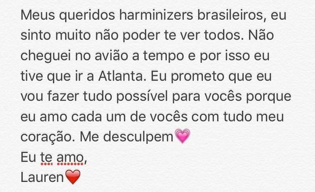 Lauren, do Fifthy Harmony, se desculpa com fãs brasileiros
