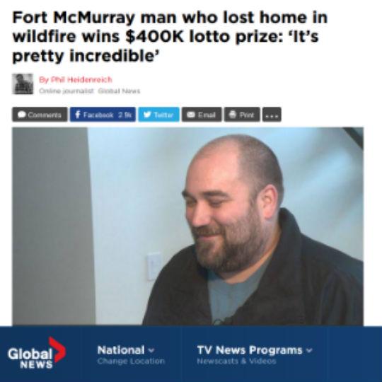 Canadense que perdeu casa em incêndio ganha na loteria