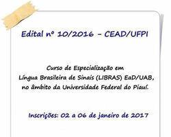 UFPI/UAB oferta 200 vagas de Especialização em Libras