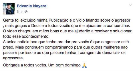 Post de Edvania (Crédito: Reprodução/Facebook)