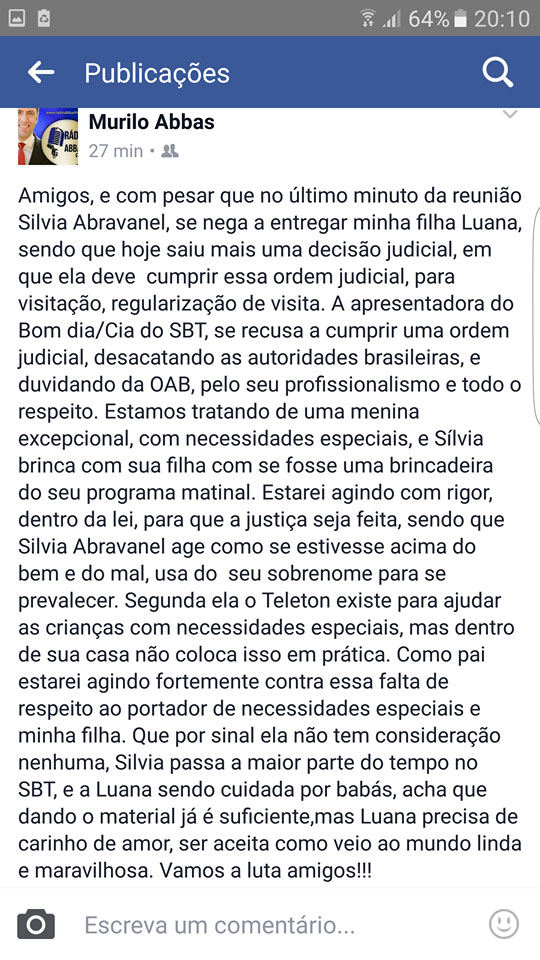 Post do ex-marido de Silvia Abravanel