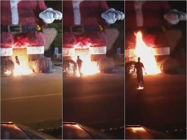 Irmãos atearam fogo em Papai Noel gigante de garrafas pet em Ji-Paraná e filmaram todo o ocorrido. O vídeo da ação tem circulado pelas redes sociais (Crédito: Reprodução)