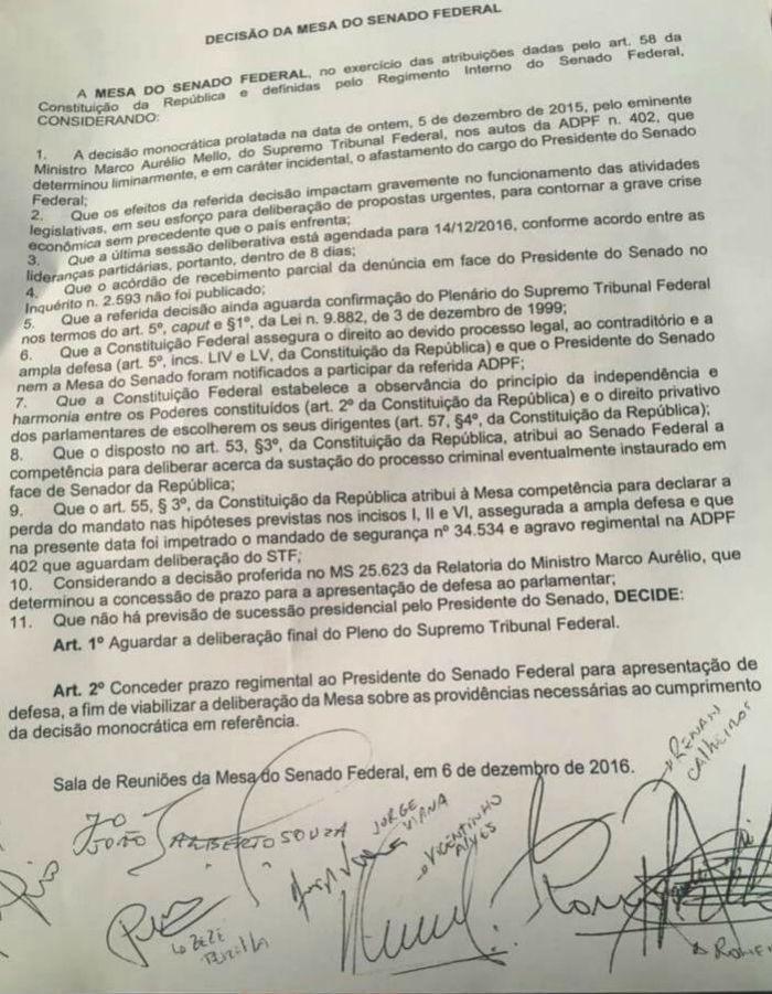 Decisão da Mesa do Senado Federal sobre não cumprir liminar do Ministro do Supremo, Marco Aurelio de Mello