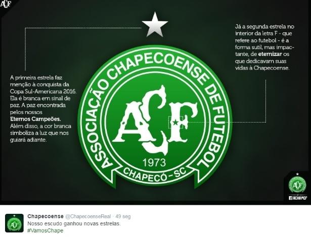 Novo escudo da Chapecoense (Crédito: Reprodução)