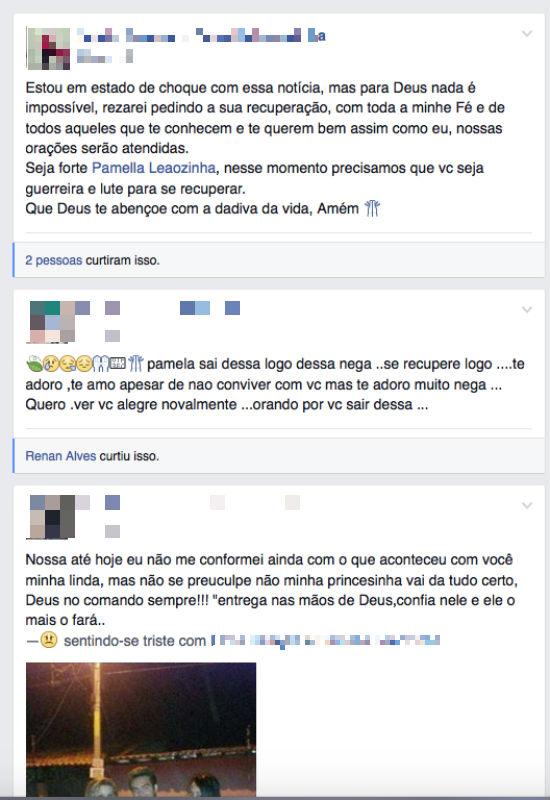 Amigos da vítima deixam mensagem de apoio em sua página no Facebook (Crédito: Reprodução/Facebook)