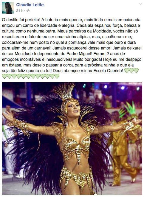 Post Cláudia Leitte (Crédito: Reprodução)