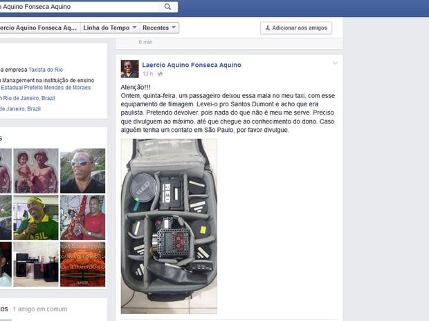Campanha para encontrar dono da mala  (Crédito: Divulgação)