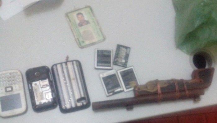 Objetos apreendidos pela polícia