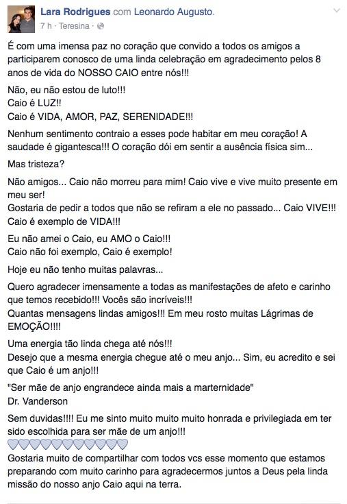 Desabafo da mãe de Caio no Facebook (Crédito: Reprodução/Facebook)