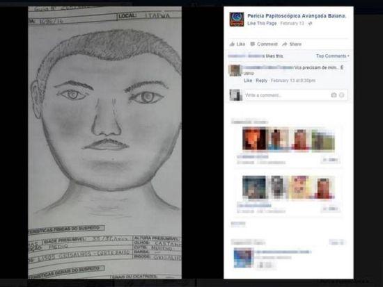 A imagem deveria ser um retrato falado de um homem suspeito de cometer crimes durante o Carnaval de Salvador (Crédito: Reprodução)