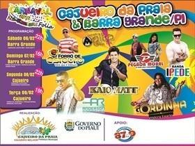 Programação oficial do carnaval em Cajueiro da Praia