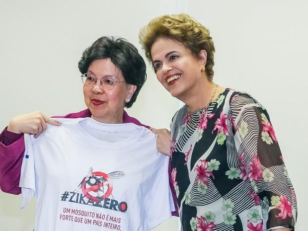 Dilma recebe a diretora-geral da OMS, Margareth Chan (Crédito: G1)