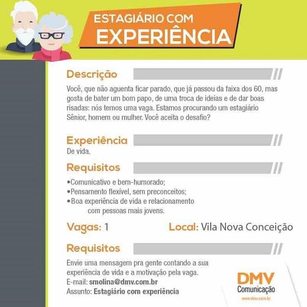 Agência inova e lança vaga de estágio para idosos (Crédito: reprodução)