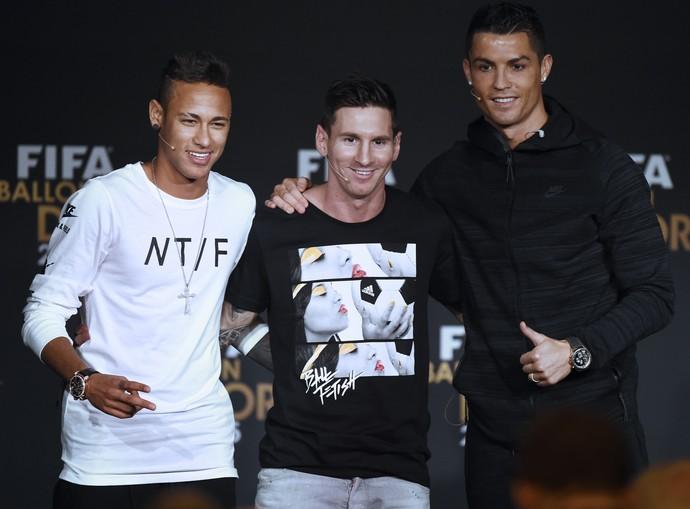 Neymar, Messi e Cristiano Ronaldo (Crédito: AFP)
