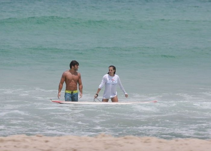 Hugo e Deborah na praia
