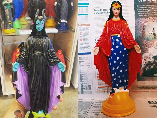 Estatuetas de santos com rostos e vestes de personagens famosos vendidas em loja de Brasília (Crédito: Ana Smile)