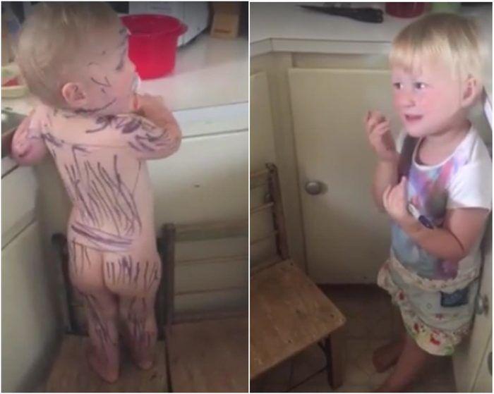 Menina apaixonada por zebras pinta a irmãzinha e faz sucesso na internet (Crédito: Reprodução)