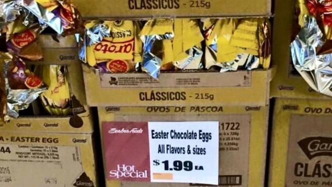 Ovo de Páscoa vendido por 1,99 dólares nos EUA revoltam internautas (Crédito: Reprodução)