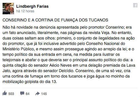 """""""Esse promotor sempre perseguiu o presidente Lula"""", diz senador (Crédito: Reprodução)"""
