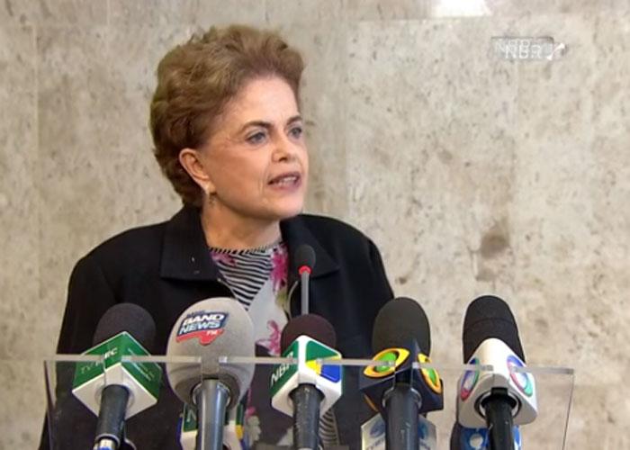 Dilma durante coletiva de imprensa  (Crédito: Reprodução )